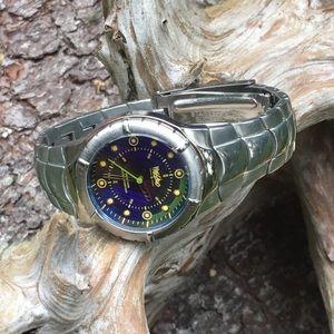 Massimo Silver Tone/Blue Iridescent Men's Watch